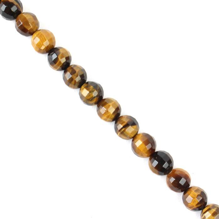 150cts Yellow Tigers Eye Pumpkin Cut Rounds Approx  8mm 38cm strand