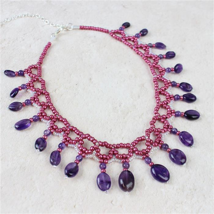 Pomegranate Passion! Inc; Amethyst Ovals, Sage Amethyst Rounds, Magenta & Crystal Seedbeads