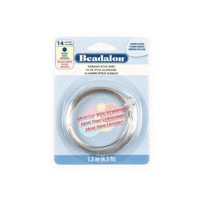 German Style Silver Plated Round Wire 14 Gauge 1.6mm/1.3m