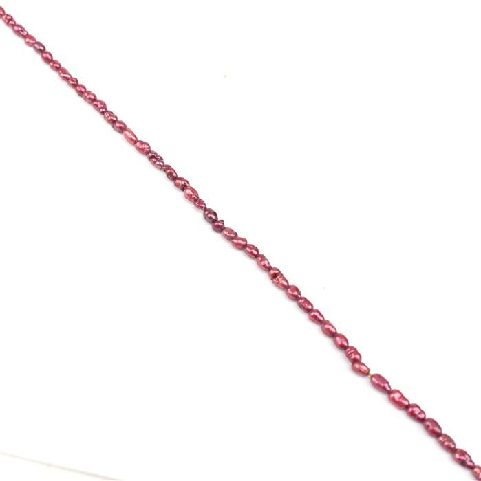 Dyed Red Freshwater Cultured Pearl Rice Beads Approx from 2x3mm to 2x4mm, 38cm Strand
