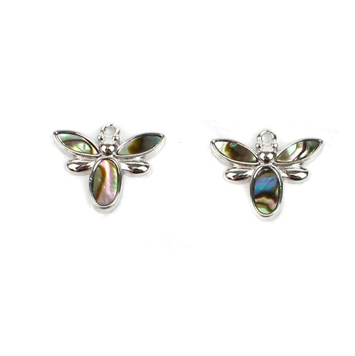 Rhodium Plated 925 Sterling Silver Bee Charms With Abalone Approx 12x15mm (2pcs)