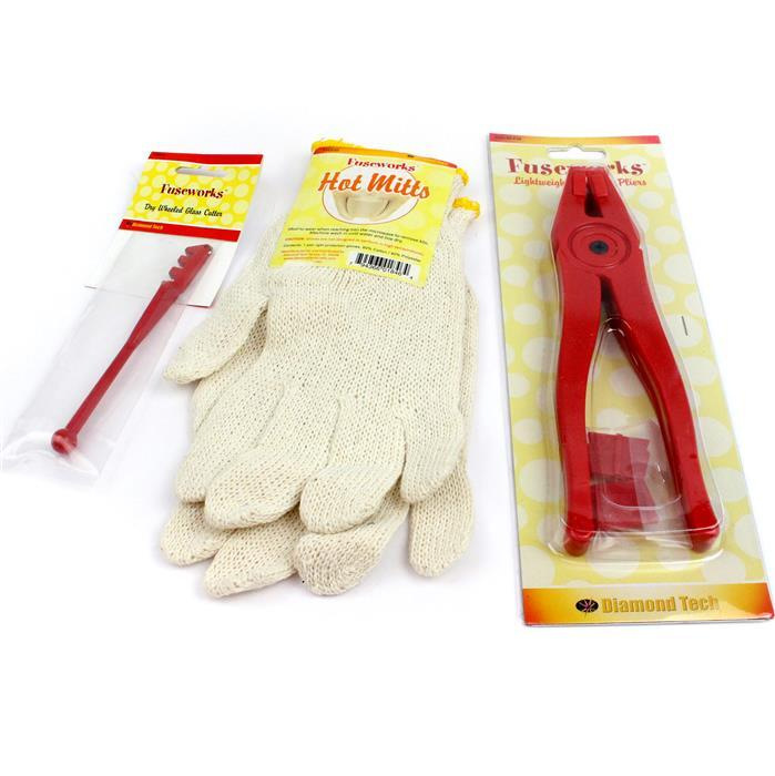 Glass Fusing Tool Kit: Dry Wheel Glass Cutter, Running Pliers & Hot Mitts