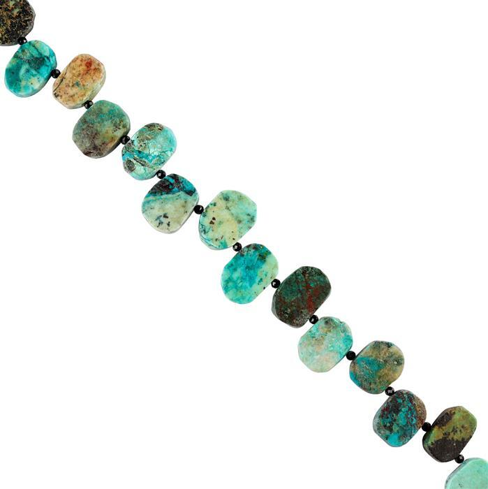175cts Chrysocolla Graduated Matte Finished Fancy Shapes Approx 14x9 to 18x12mm, 18cm Strand.