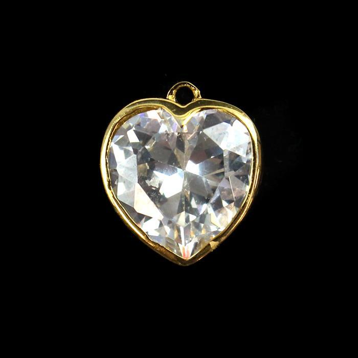Gold Plated 925 Sterling Silver Cubic Zironia Heart Charm Approx 15mm, 1pcs