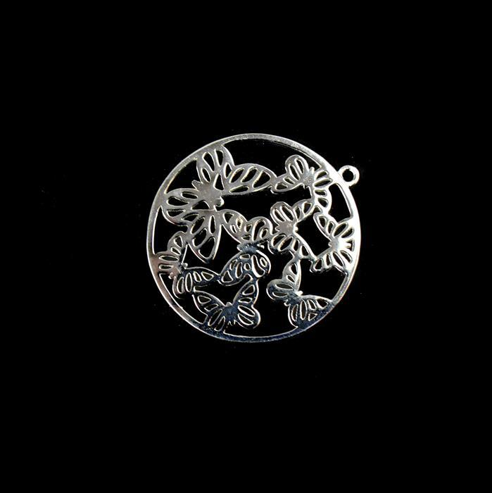 925 Sterling Silver Filigree Butterfly Kaleidoscope Circle Pendant Approx 30mm 1pc