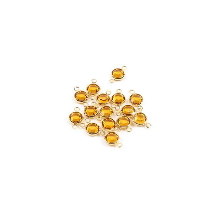 Swarovski Crystal Topaz with Channel Setting Gold Plated 2 Ring Connectors - 15pk