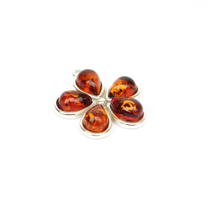925 Silver Baltic Cognac Amber Drop Cabochon Flower Pendant Approx 19x20mm