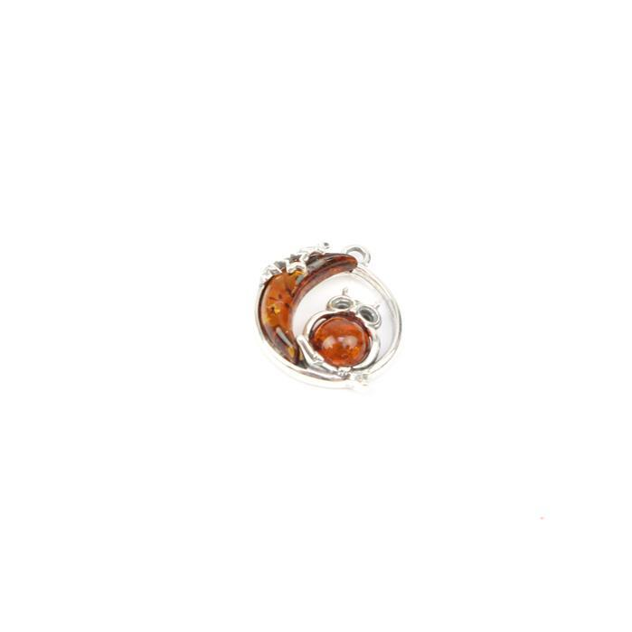 Baltic Cognac Amber Owl & Moon Sterling Silver Charm Approx 18x16mm