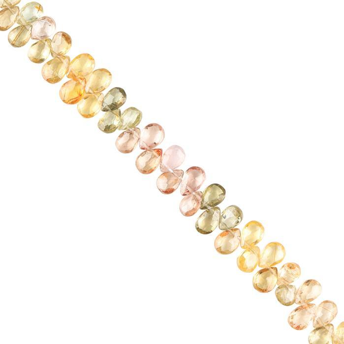 40cts Multi-Colour Zircon Graduated Faceted Pears Approx 4x3 to 6x4mm, 18cm Strand.