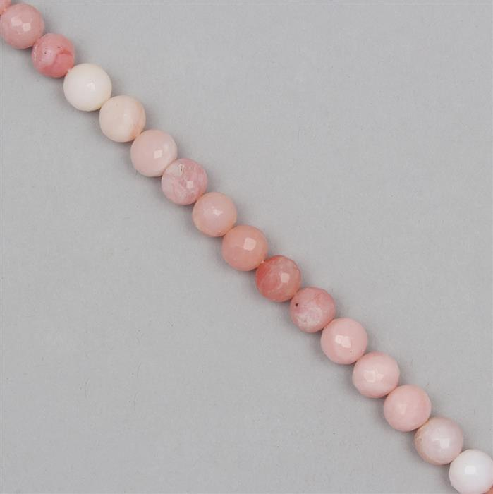 70cts Pink Opal Graduated Faceted Rounds Approx From 7 to 8mm, 19cm Strand.
