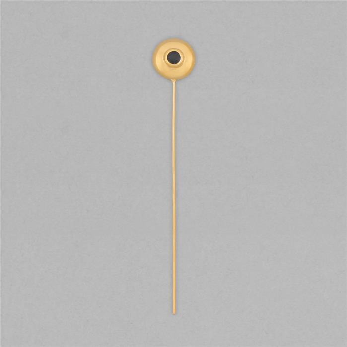 Gold Plated 925 Sterling Silver Gemset Birthstone Headpin Approx 59x9mm Inc. 0.14cts Blue Sapphire Round Approx 3mm