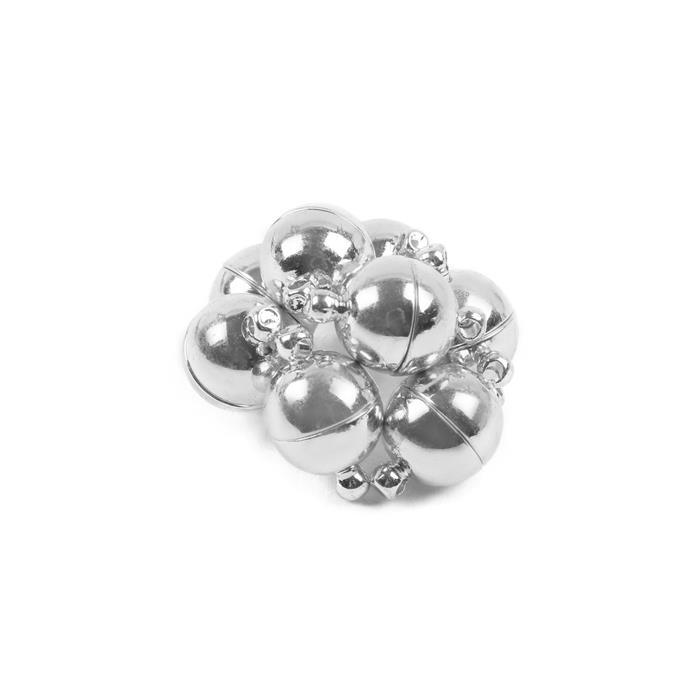 Silver Coloured Brass Round Magnetic Clasps 10mm (8pcs/pack)