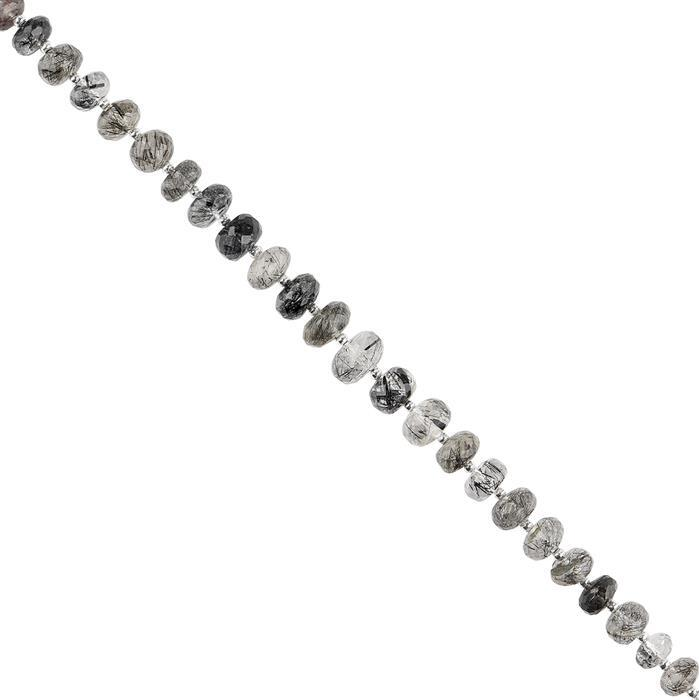 55cts Black Rutile Quartz Graduated Faceted Rondelles Approx 5x3 to 9x4mm, 18cm Strand.