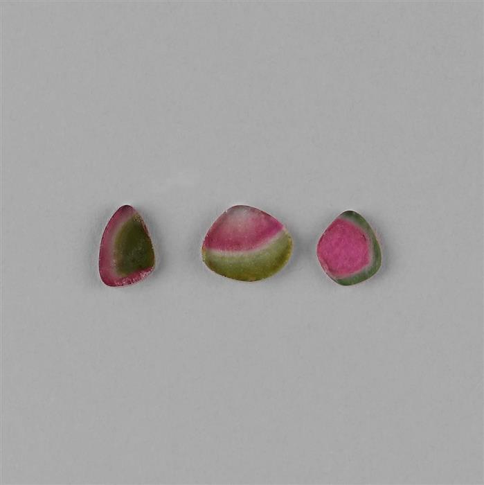 5.40cts Watermelon Tourmaline Slices. (3pcs)
