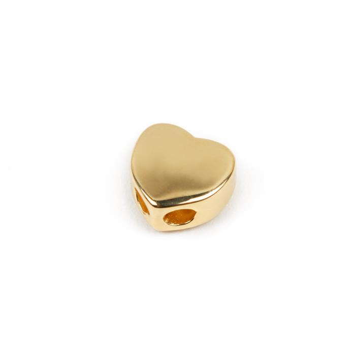 Gold Plated 925 Sterling Silver Heart Slider Approx 9mm, 1pc