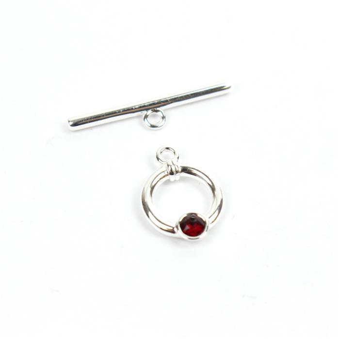 925 Sterling Swarovski Garnet Colour Toggle Clasp Approx 23mm Bar 11mm Ring