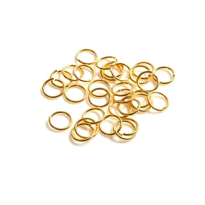 925 Gold Plated Sterling Silver Open Jump Rings ID Approx 7mm ID (Approx 30pcs)