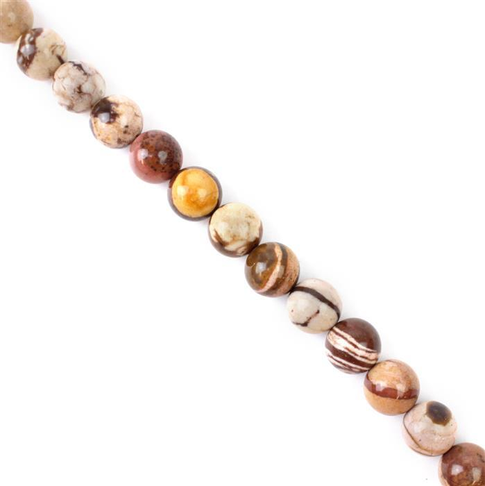 400cts Chocolate Stripe Jasper Plain Rounds Approx 12mm, 38cm strand