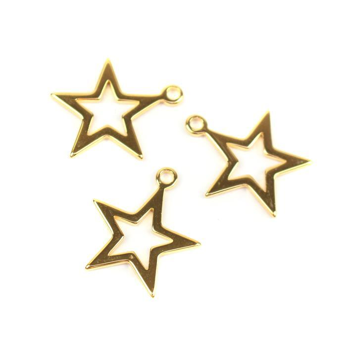 Gold Plated 925 Sterling Silver Hollow Star Charms Approx 15mm, 3pcs