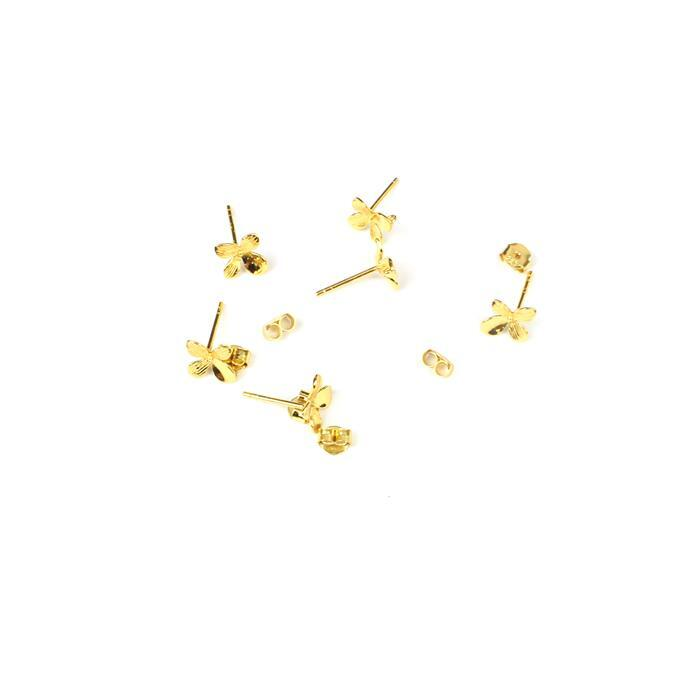 Gold Plated 925 Sterling Silver Asian Inspired Flower Earrings with Loop Approx 10mm 3pk