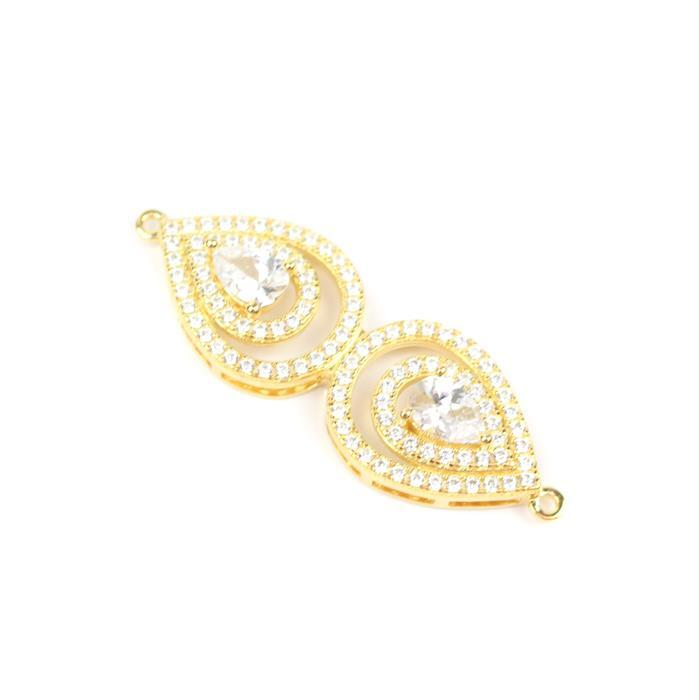 Gold Plated 925 Sterling Silver Cubic Zirconia Eye Shape Connector Approx 15x40mm, 1pcs