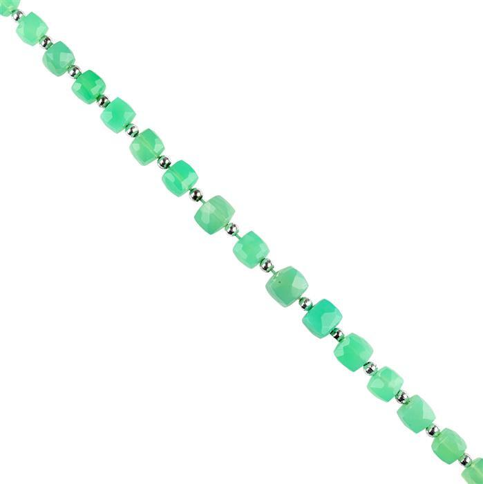 56cts Chrysoprase Graduated Faceted Cubes Approx 5 to 8mm, 18cm Strand.