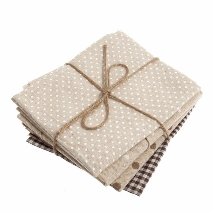 Brown & Natural Fat Quarters Pack of 4