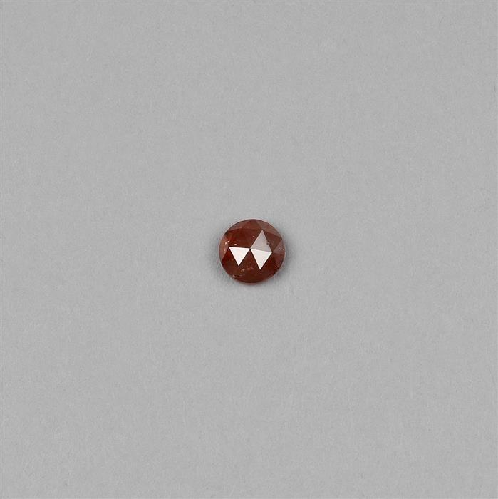 0.92cts Brick Red Diamond Rose Cut Round 5mm.
