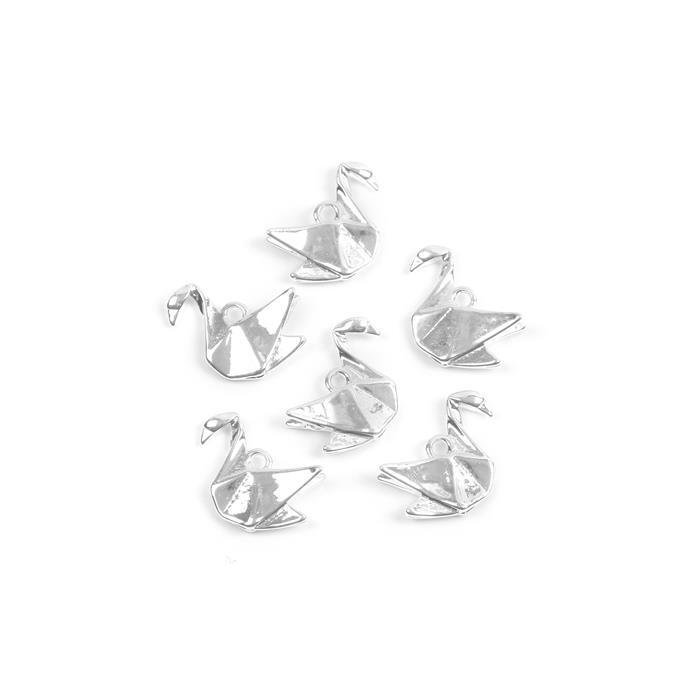 Silver Plated Base Metal Origami Swan Charms Approx 16x13mm (6pcs)
