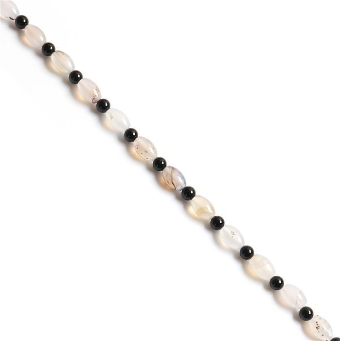 140Cts Grey Agate Rice Beads With Spacer Beads, Approx 12x8mm, 38cm strand