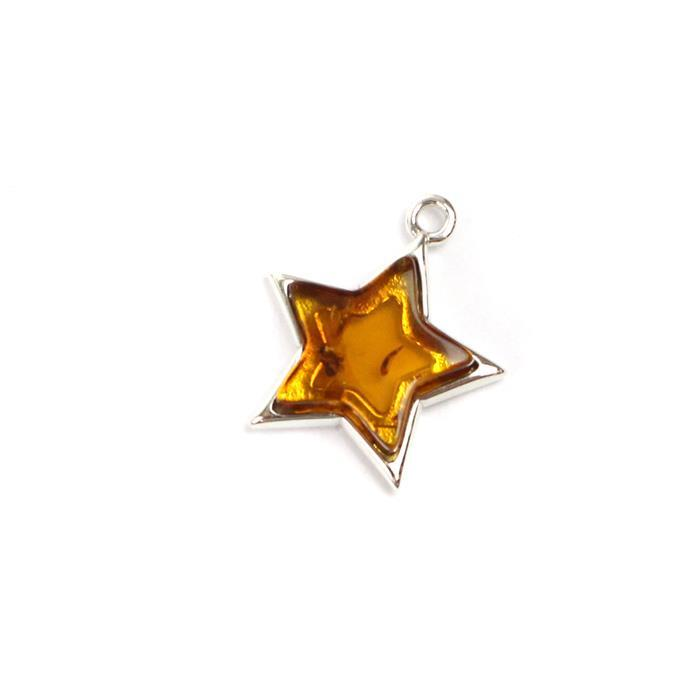 Baltic Cognac Amber Sterling Silver Star Pendant 17x16mm