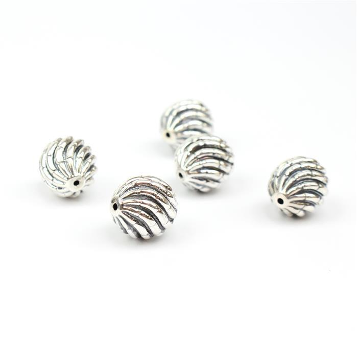 925 Sterling Silver Oxidised Electroformed Bead Approx 15x12mm (5pcs)
