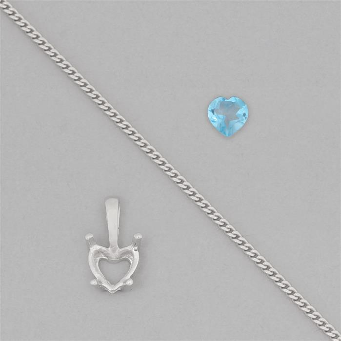 925 Sterling Silver Mount Pendant Kits Inc. 0.80cts Swiss Blue Topaz 6mm Heart