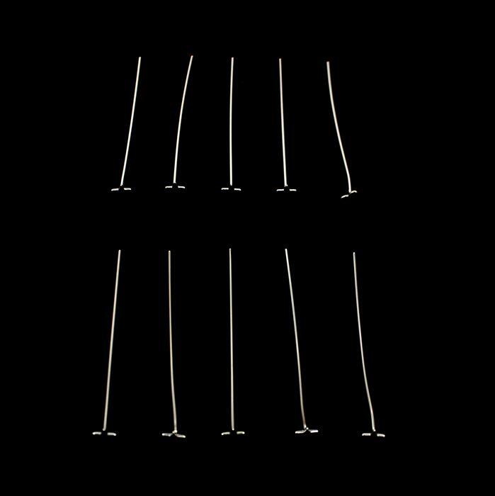 925 Sterling Silver Solid Star Head Pins Approx 40mm, 10pcs