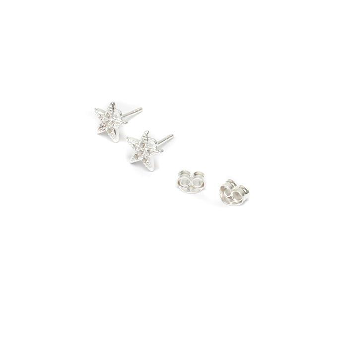 Sterling Silver Cubic Zirconia Star Earring Findings Approx 8mm, 1pair