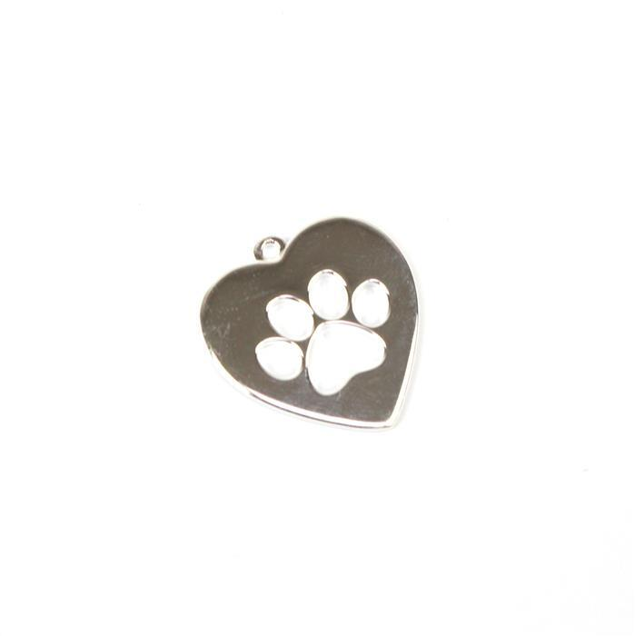 925 Sterling Silver Heart Shape Paw Cut Out Pendant Approx 20x21mm