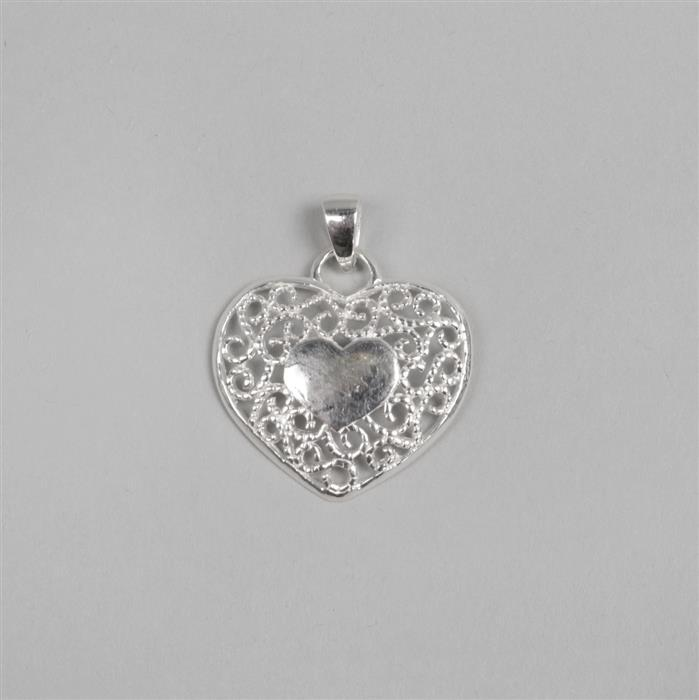 925 Sterling Silver Filigree Heart Pendant 22mm