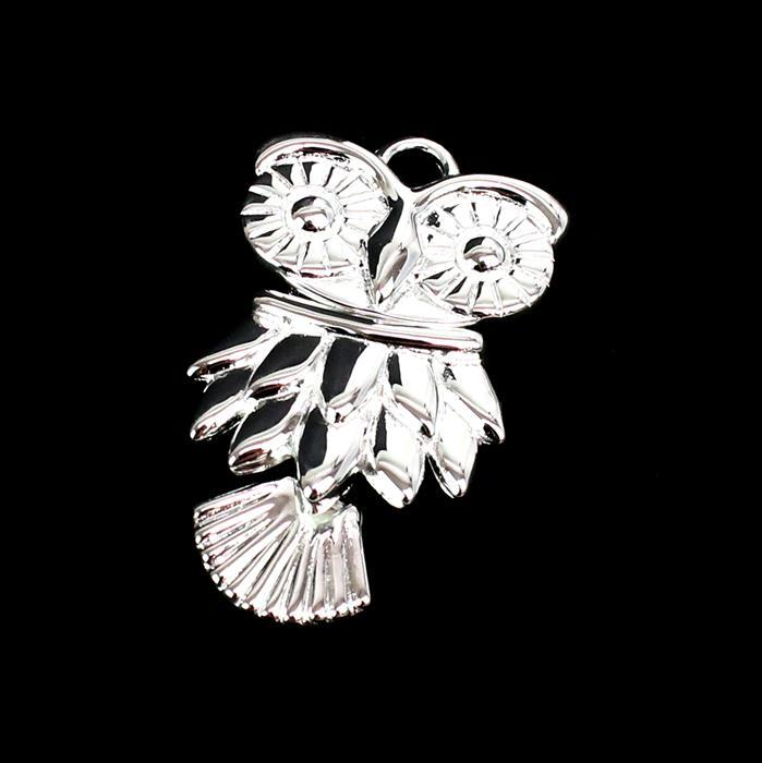 925 Sterling Silver Movable Owl Pendant Approx 18x30mm 1pc