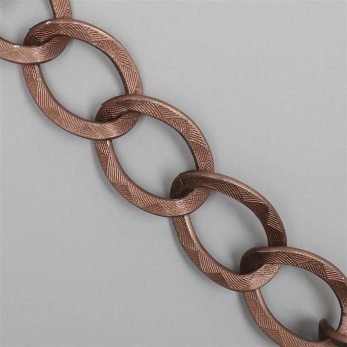 1m Matte Antique Copper Aluminum Chain, Approx 24.5x33mm