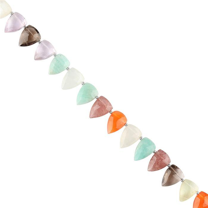 100cts Multi Gemstone Graduated Faceted Shields Approx 11x7 to 14x10mm, 22cm Strand.