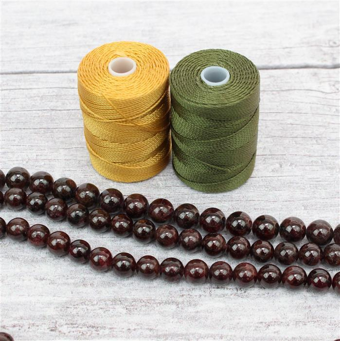 Mala Necklace Kit; 3 x 240cts Red Garnet Rounds Approx 8mm, Marigold & Olive Nylon 0.4mm