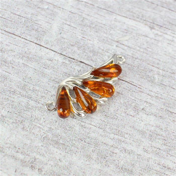 Baltic Cognac Amber Wing Sterling Silver Connector Approx 31x14mm