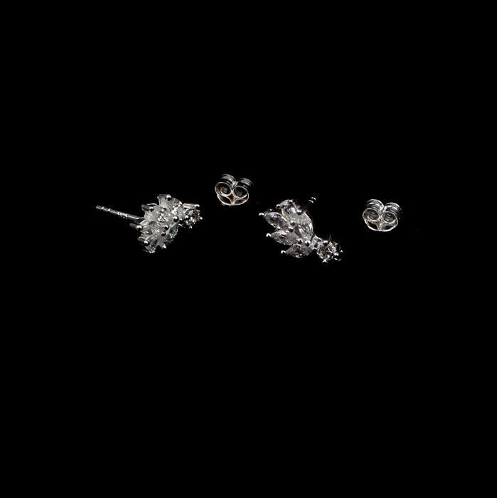 925 Sterling Silver Cubic Zirconia Decorative Earring Posts Approx 10mm With Butterfly, 1Pair