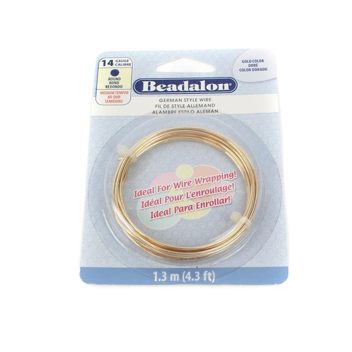 German Style Gold Colour Round Wire 14 Gauge 1.6mm/1.3m