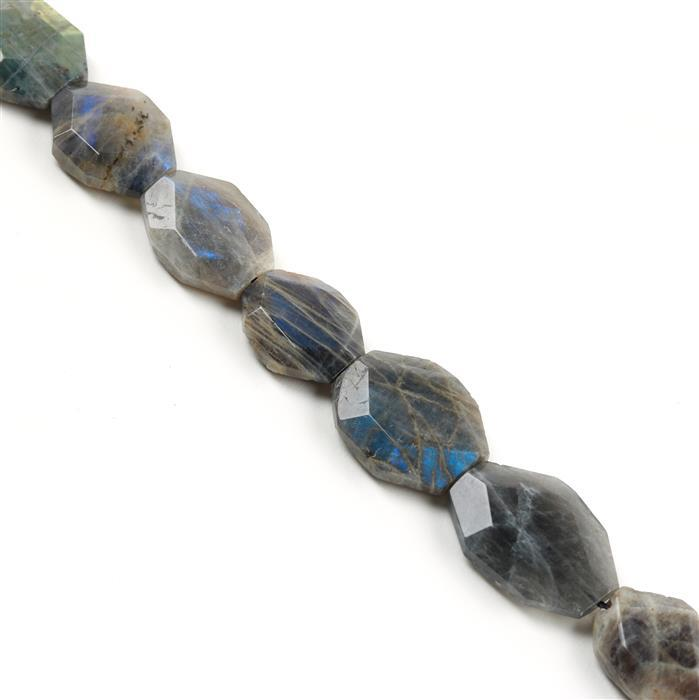 520cts Labradorite Faceted Slabs Approx from 18x23 to 22x32mm, Approx 38cm strand