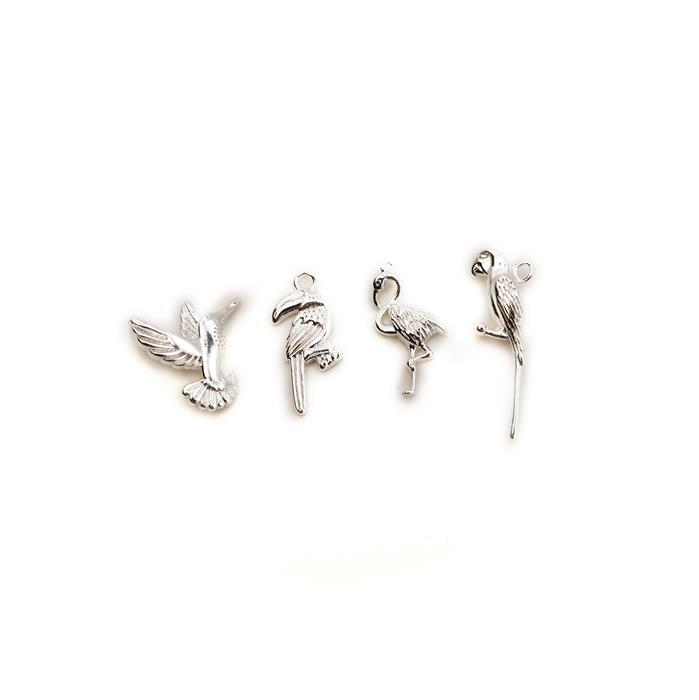 Silver Plated Base Metal Tropical Birds Charm Pack, Approx. 15-22mm (4pcs)