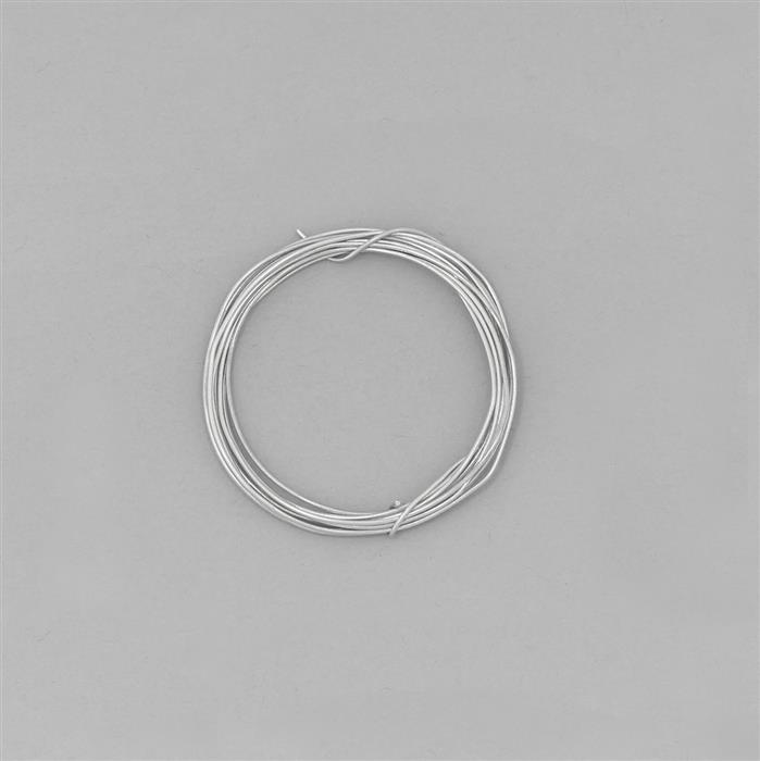 1m White Rhodium Plated 925 Sterling Silver Round Wire Approx 0.60mm