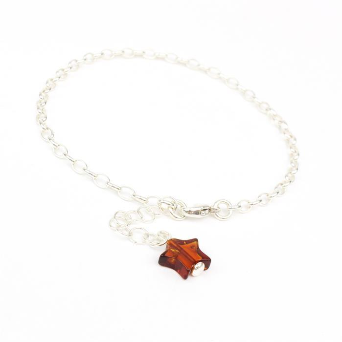 925 Silver Chain Charm Bracelet with Baltic Cognac Amber Star Bead Approx 10x8mm  7