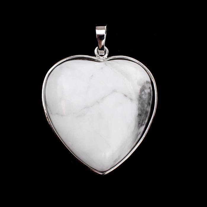 75cts White Howlite Heart Pendant Approx 37x33mm with 8mm loop
