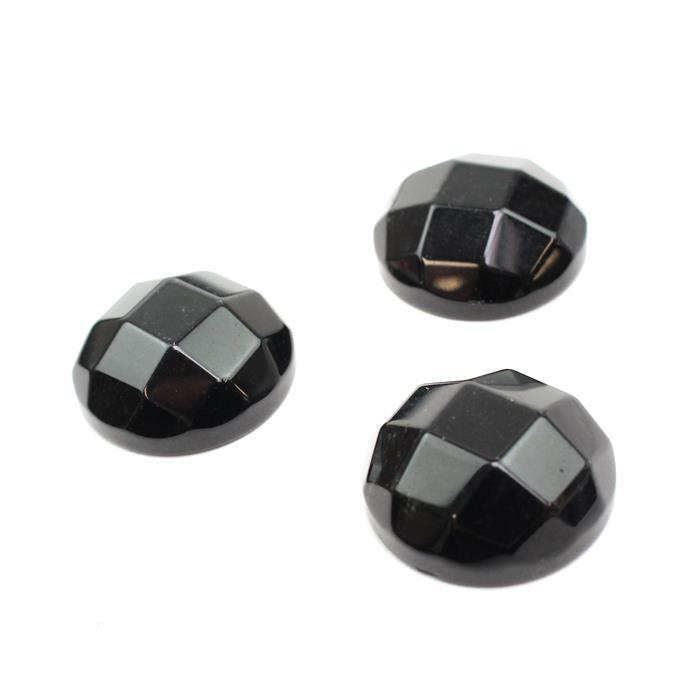 100cts Black Obsidian Faceted Cabochons Approx 25mm
